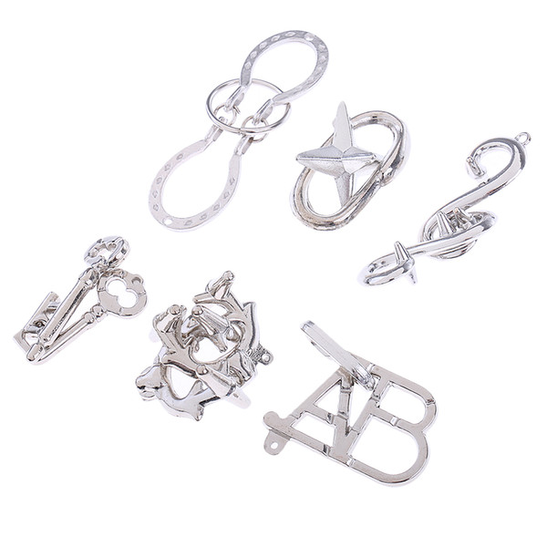 best selling 6pcs set Brain Teaser Metal Wire Puzzle Test Mind Game for Adults Kids Toys