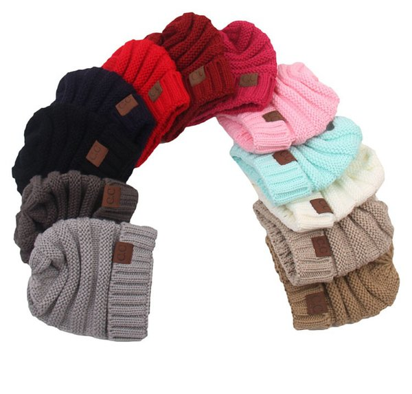 best selling Fashion Children's Hat Wool Knit Hat Baby Simple Thickening Hooded Warm Hat