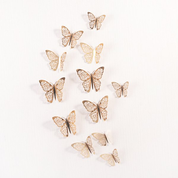 best selling Amais 12 Pcs Set 3D Wall Stickers Hollow Butterfly for Kids Rooms Home Wall Decor DIY Mariposas Fridge stickers Room Decoration