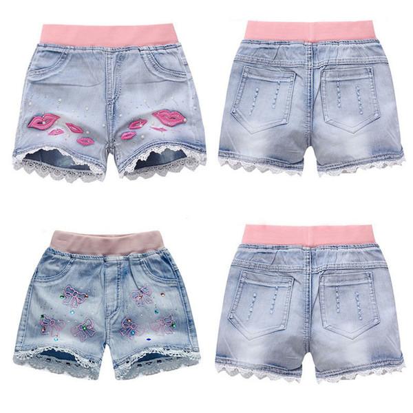 top popular Girls Denim Shorts Teenagers Summer Lace Short Pants Kids Beach Clothes Children's Shorts For Teenage Girls 2021