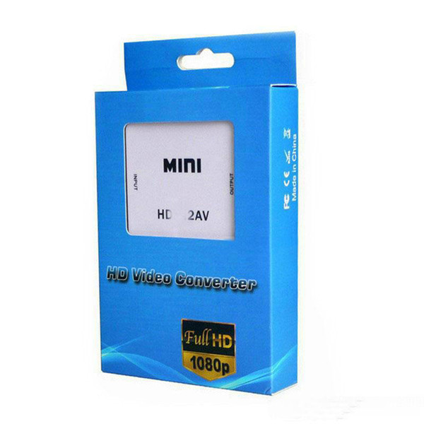 best selling 1080P HD Video Adapter mini to AV Converter CVBS+L R HD to RCA For Xbox 360 PS3 PC360 With retail packaging OM-CD8