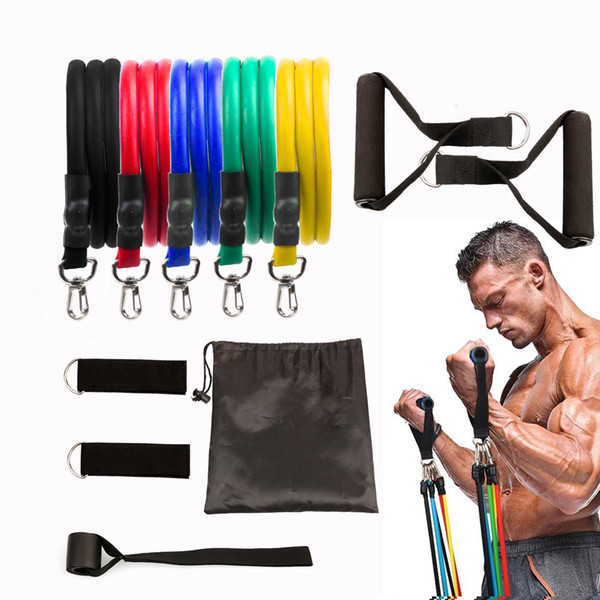 best selling New 11pcs set Pull Rope Fitness Exercises Resistance Bands Latex Tubes Pedal Excerciser Body Training Workout Elastic Yoga Band
