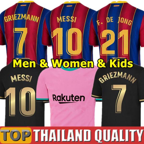 best selling 20 21 FC BARCELONA soccer jerseys camiseta ANSU FATI 2020 Messi GRIEZMANN DE JONG Football shirt set Men Women Kids Kit uniforms