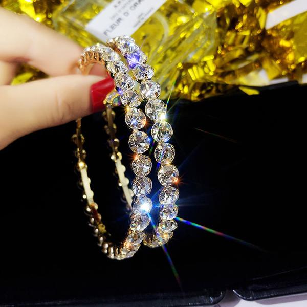 top popular 2020 Fashion Hoop Earrings With Rhinestone Circle Earrings Simple Big Circle Gold Color Loop For Women 2021