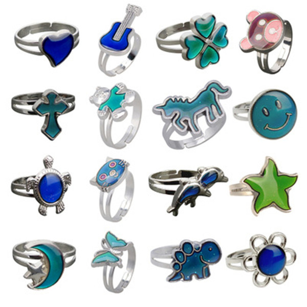 top popular Temperature sensing mood rings Changing Color Guitar Butterfly heart rings for women animal ring fashion hip hop jewelry will and sandy 2020