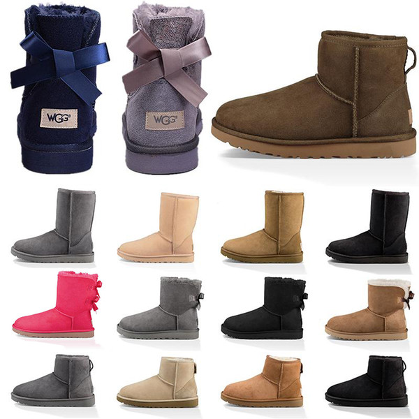 top popular New Women Snow Boots Fashion Winter Boot Classic Mini Ankle Short Ladies Girls Womens Booties Triple Black Chestnut Navy Blue Booties 2020