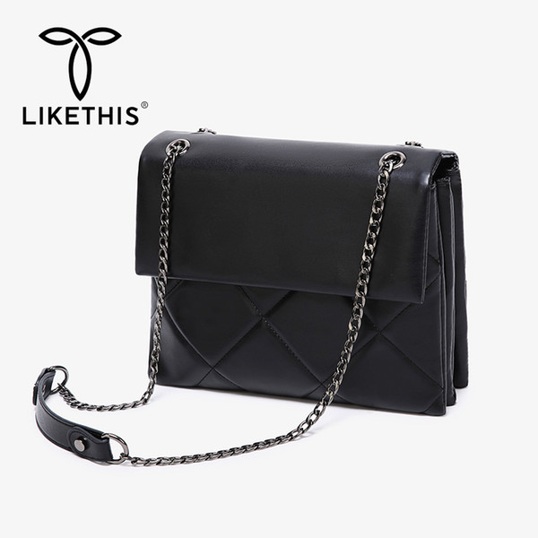 likethis leather flap crossbody bag women big shoulder bags pu chains cover torebki damskie na rami multi-layer bolsa feminina