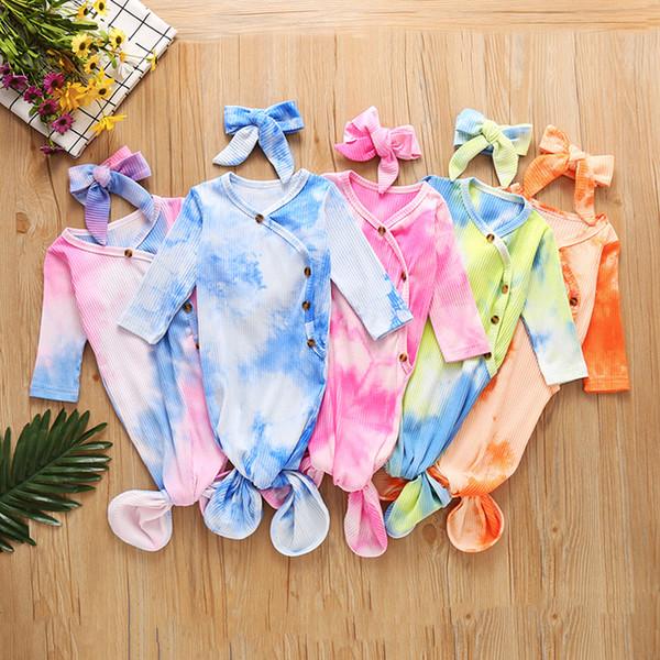 top popular 5 Colors Newborn Baby Swaddle Blanket headbands 2 pcs Wrap Toddler Sleeping Sacks Photography Prop Tie Dye Infant Sleeping Bag M2715 2021