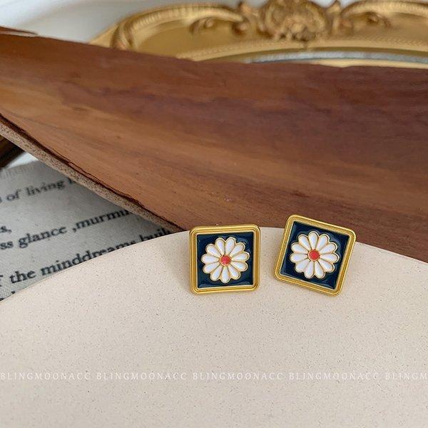 Cuadrado de la flor de plata 925 de la aguja