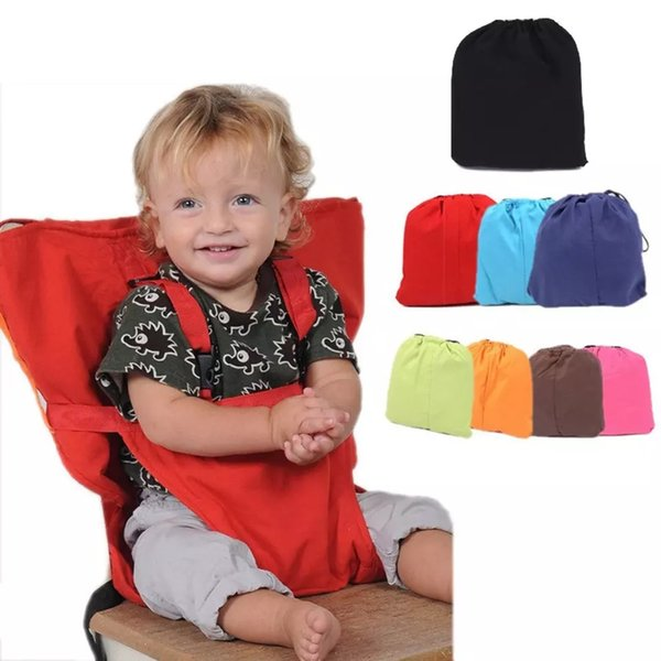 baby portable seat kids chair travel foldable washable infant dining cover seat safety belt feeding high chair 7 colors clsy355