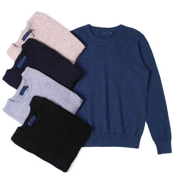 top popular mens sweater crew neck mile wile polo mens classic Embroidery sweater knit cotton Leisure warmth sweaters jumper pullover 5 Colors 2020