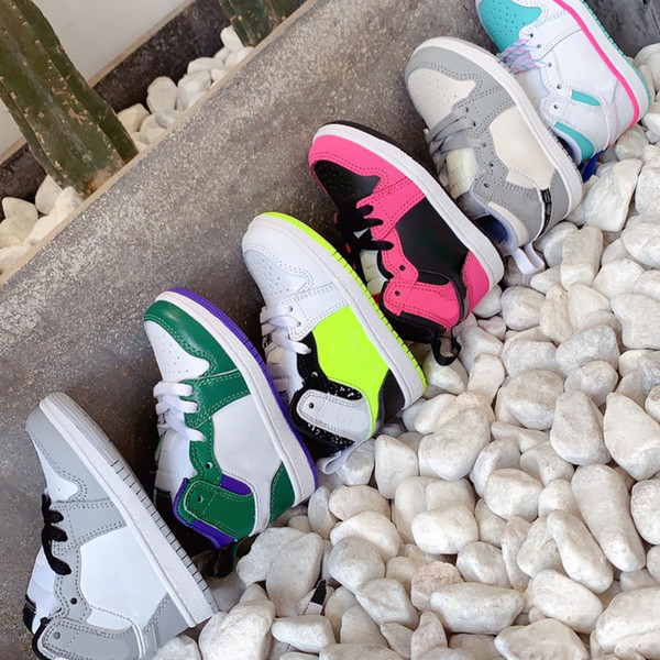US 6C-3Y Little Kids Shoe Cool Grey I 1s Aloe Verde Court Purple Island Green Basketball Shoes Baby Girls Mint Mid Toddler Sneaker EUR 22-35
