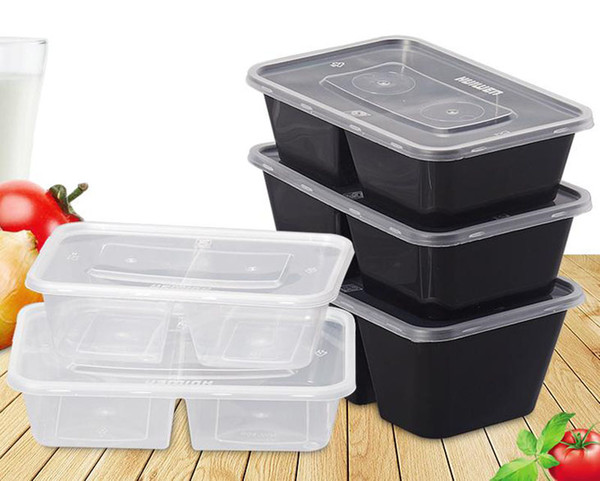 top popular Disposable 500 650 750ml 1000ML Plastic dinner Box 2-compartment Food Lunch Storage Holoder 2 colors Take Out Boxes Tableware 300 sets lot 2021