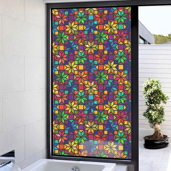 top popular Floral Static Cling Privacy Stained Door Window Film Anti UV Bathroom Decor 2021