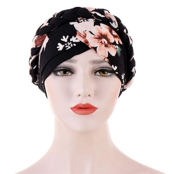 top popular Full Cover Inner Muslim Cap Print Muslim Stretch Turban Cap Islamic Underscarf Bonnet Hat Female Turbante Mujer 2021