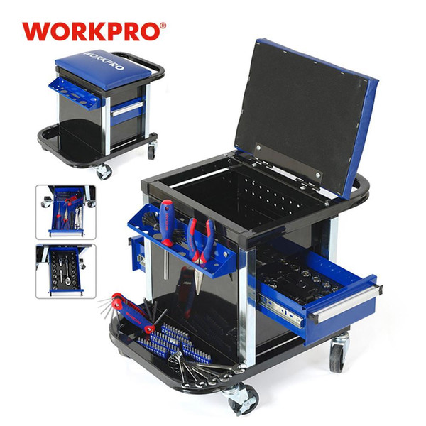 best selling WORKPRO Tool Set for Car Repair Set of Tools Work Stool Workbench Seat T200916