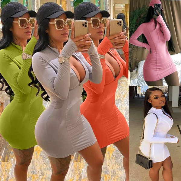 top popular Women Dress Printed Zipper Solid Color Multiple Colors Available Casual Sexy Slim Tight Ladies Dresses New Fashion 2020 2020