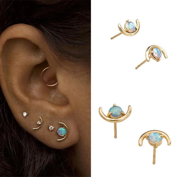 AprilGrass Brand Fashion Minimalist Jewelry Gold Punk Small Stud Earrings for Women Moon Shape White Fire Opal Earrings Brincos Ear Studs