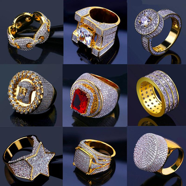 best selling Bling Iced Out Gold Rings Mens Hip Hop Jewelry Cool CZ Stone Luxury Deisnger Men Hiphop Rings