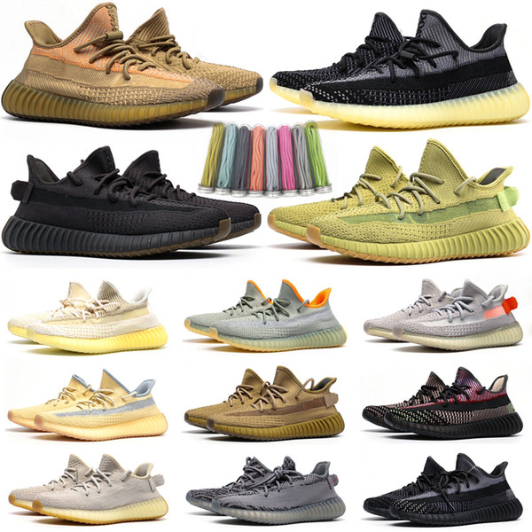 top popular 2020 Kanye West Static Black Refective Running Shoes Israfil Cinder Desert Sage Earth Tail Light Zebra Womens Mens Trainers Sneakers Size 13 2021