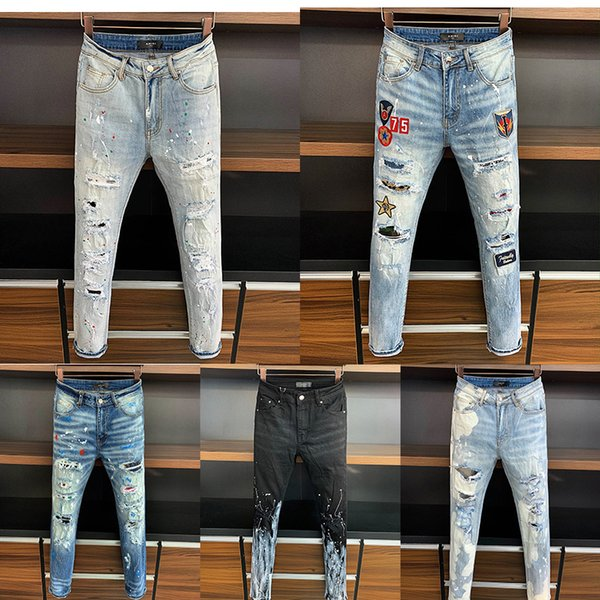 best selling 5a Top High quality Designer Jeans famous brand men ripped fashion streetwear luxury man motocycle biker joggers italy jean pants trousers