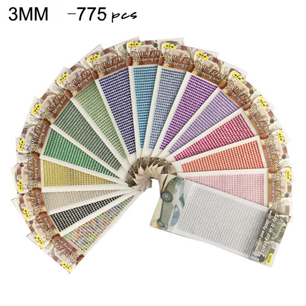 top popular 775pcs 3mm Self Adhesive Colorful Rhinestone Sticker Sheet 13 Colors Crystal Ribbon with Gum Diamond Sticker for DIY Craft Car Decorations 2021