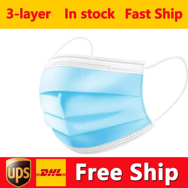 top popular DHL Free Shipping Disposable Mask 50pcs 3-Layer Face Masks Protection and Personal Health Mask with Earloop Mouth Face Sanitary Masks 2021