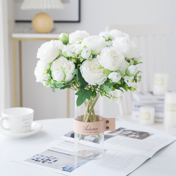 White Artificial Flowers Silk Peony Rose Wedding Vases for Home Decor Bride Bouquet Foam Accessories Craft Gifts Fake Plants