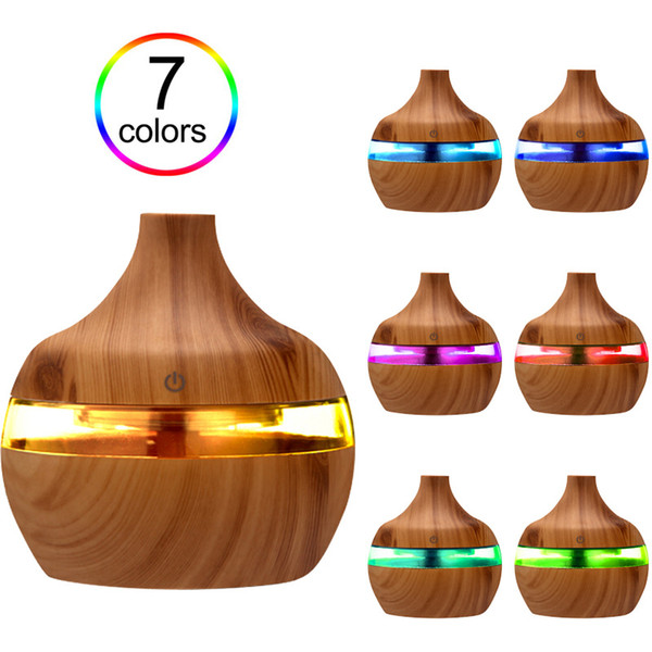 top popular Electric Humidifier Essential Aroma Oil Diffuser Ultrasonic Wood Grain Air Humidifier USB Mini Mist Maker LED Light For Home Office Use 2021