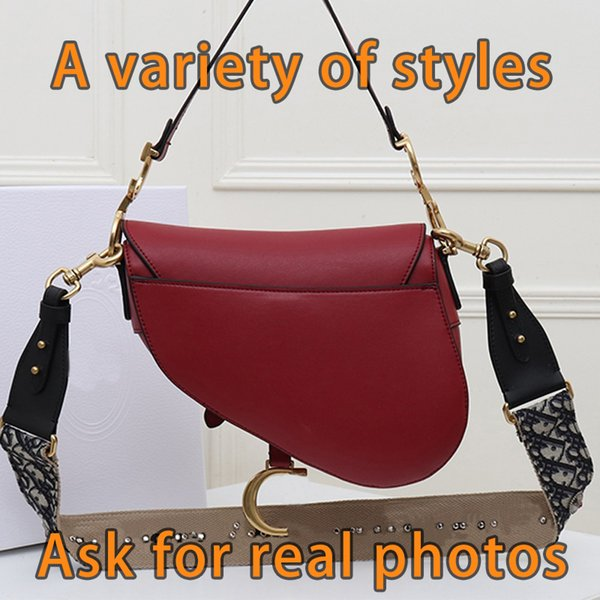 top popular Designer Luxury handbags Purses Women Shoulder bag Genuine Leather with embroidery Cross-Body Saddle Handbag High Quality Bag best 2020