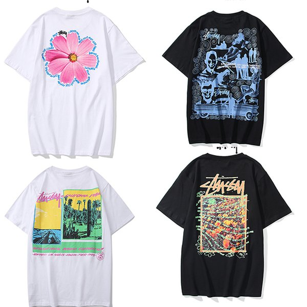 top popular NEW Mens stussy T Shirts Black White Red Mens Fashion Stylist T Shirts Top womens T Shirts Stylist Short Sleeve M-XXL 2020