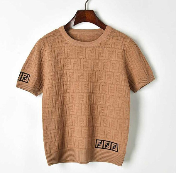 best selling new fashion women''s college style short sleeve o-neck color block knitted logo letter jacquard weave hollow out sweater T-shirt