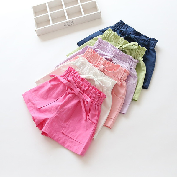 top popular Baby Girl Shorts Kid Short Pants Casual Pants Solide Lace Cotton and Tingle Pants Hot Selling Summer Travel Beach Short 2021