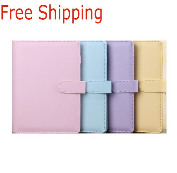 top popular 5 Styles A6 Colorful Creative Macarons Binder Notebook Shell Loose-leaf Hand Ledger Diary Stationery Cover Gifts Office Supplies 2020