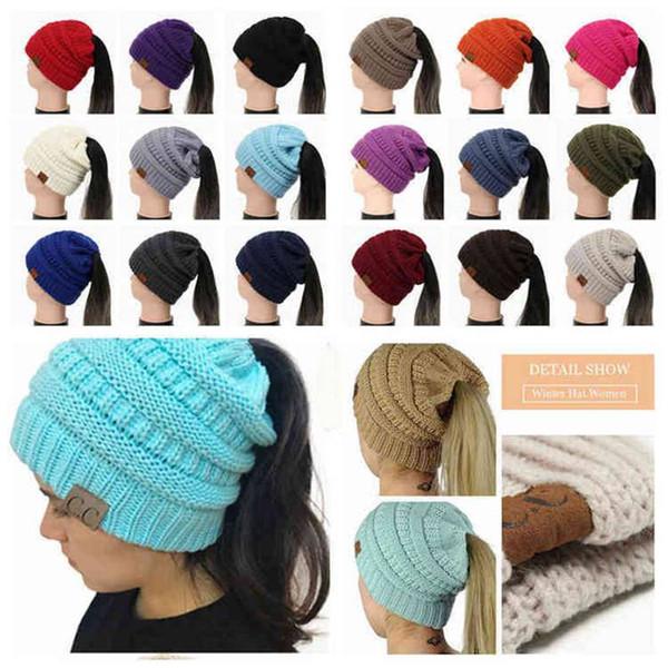 top popular CC Ponytail Beanie Hat 29 Colors Women Crochet Knit Cap Winter Skullies Beanies Warm Caps Female Knitted Big Kids Hats 30pcs 2020