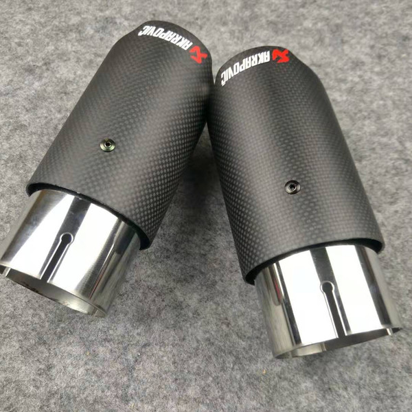 top popular Promotion: One Pieces Straight edge Exhausts Muffler Tips Carbon fiber + Stainless steel Exhaust Tail End Pipe Universal Akrapovic nozzles 2021