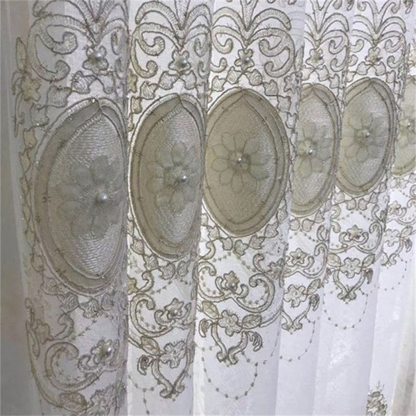 top popular Luxury Bead and Velvet Embroidered Tulle Curtain For Living Room Bedroom Window Screen Custom European Royal Home Decor ZH033#4 2021