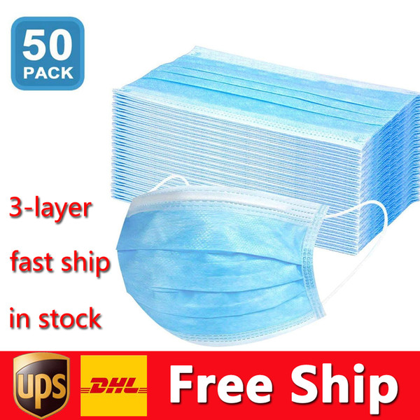 top popular DHL Free Shipping Disposable Masks 50pcs Protection and Personal Health Mask 3-Layer Facial Cover with Earloop Mouth Face Sanitary Masks 2021