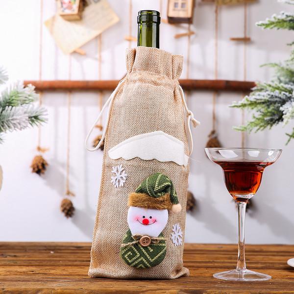 Bolsa Botella de vino de lino beige muñeco de nieve