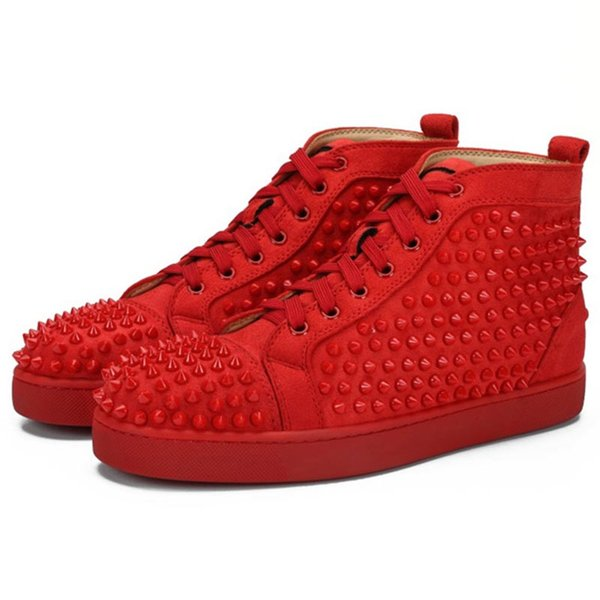 C37 Red Suede Spikes