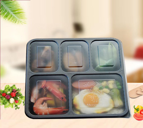 best selling Disposable1000ml 1500ML Plastic dinner Boxes 5-compartment Food Lunch Storage Holoder 2 colors Take Out Box Tableware 200 sets lot