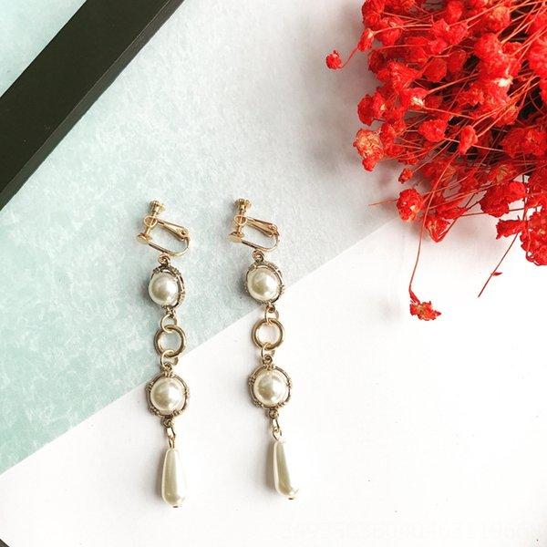 Clip del oído retro de perlas largo