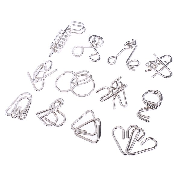 top popular 12Pcs Set Chinese Ring Metal Wire Puzzle IQ Disentanglement Magic Brain Teaser Puzzles Game for Kids Adults Educational Toys Gifts 2021
