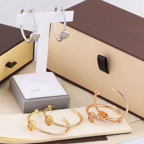 best selling Europe America Fashion Style Lady Women Titanium Steel Engraved V Initials C-shape Setting Full Diamond Hoop Stud Earrings 3 Color