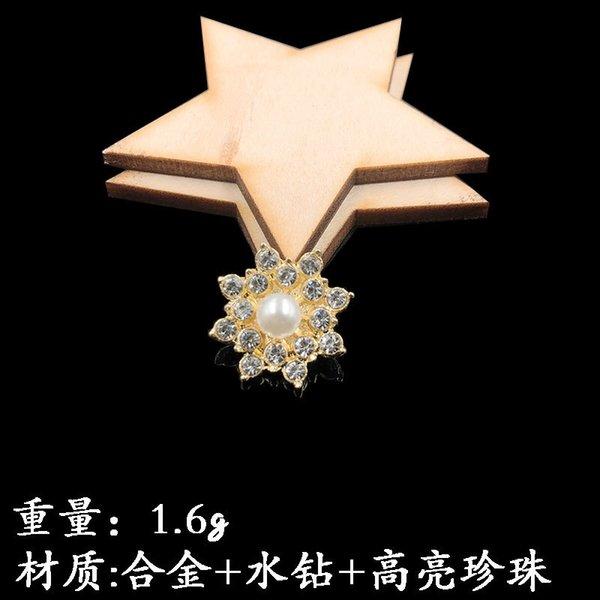 Colgando plateado perla de la flor del corazón de oro