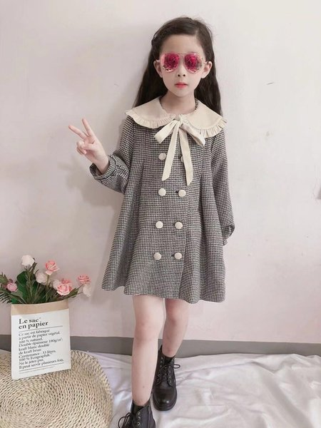 best selling 2020 New Autumn Toddler Kids Girls Coat Warm Overcoat Girls Baby Button Long Sleeve Outwear Long Jacket