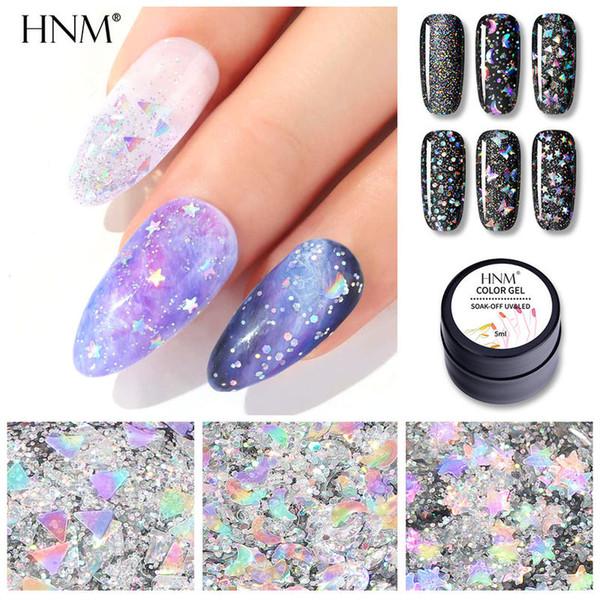 top popular HNM 5ML Laser Glitter Gel Nail Polish Star Sky Effect Soak Off Nail Varnish Primer UV LED Nail Gel Manicure Salon 2021