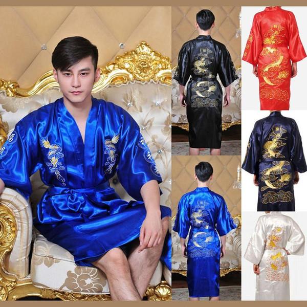 top popular 7colors Traditional Japanese Kimono Emboridery Dragon Robe Men Nightgown Yukata Sleepwear Satin Men's Quimono Samurai Male 2021