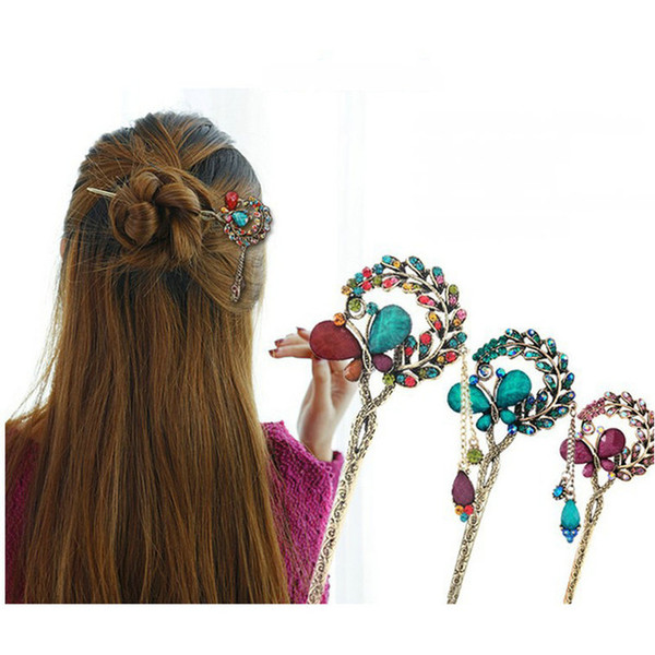 Chinese Style Women Hair Stick Metal Rhinestone Hair Chopstick Hairpin Jewelry