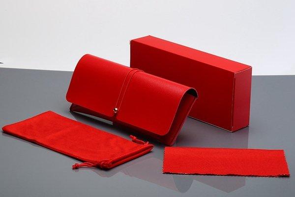 Kırmızı Deri Kutu + Ayna Bezi + Ayna